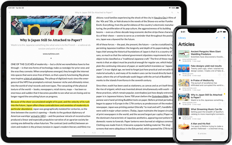 Articles App for iPhone and iPad
